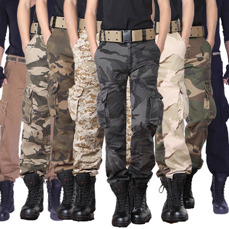 Military Camo Pants Men Loose Cotton Army Trousers Casual Hip Hop Cargo Camouflage Pants Men Pantalon Camuflaje