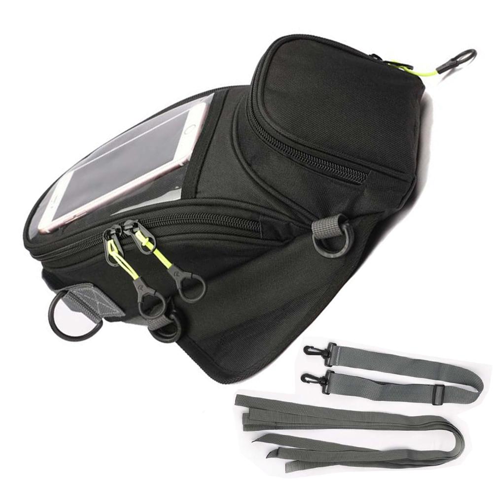Magnético fuerte bolsas de depósito para motocicleta teléfono móvil de navegación del tanque de aceite bolsa bolso de hombro con fijo correas