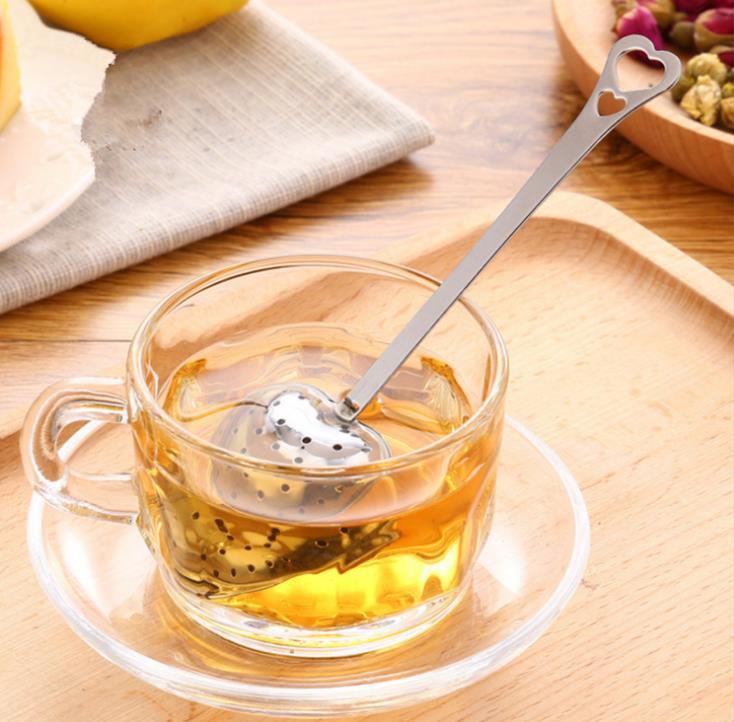 شحن مجاني 500 قطعة/lotHot بيع الحب شكل قلب نمط الفولاذ المقاوم للصدأ الشاي Infuser ملعقة صغيرة مصفاة ملعقة SN256