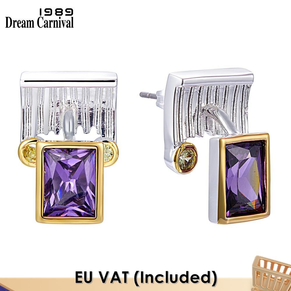 Dreamcarnival-أقراط نسائية أرجوانية أنيقة ، مجوهرات عصرية ، بدرجتين ، مجوهرات يومية ، توصيل مباشر ، WE3984