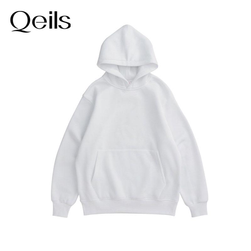 Qeils 2021 Winter Japanese Casual Loose Jumper Women Couple Hoodies Sweatshirt Fleece 100% Cotton Tr
