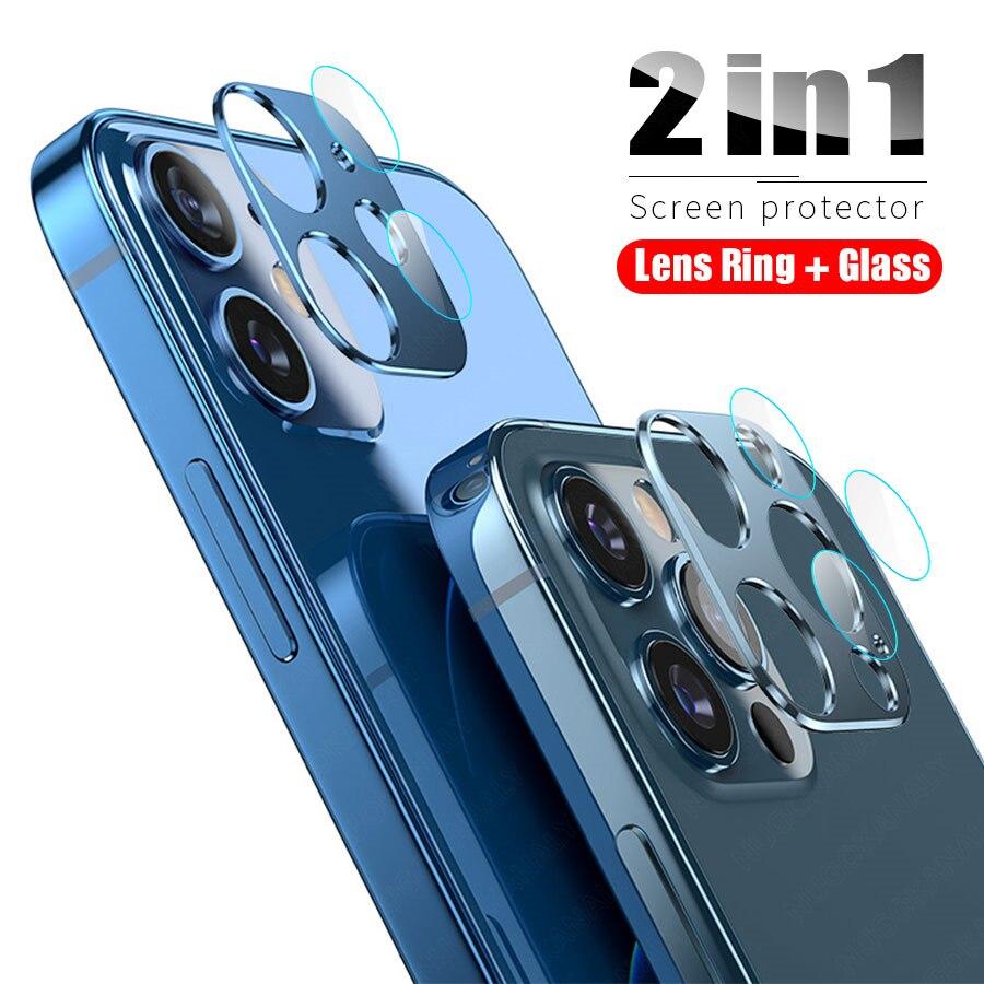 Металлические + стеклянные Защитные пленки для объектива камеры iPhone12 Series, Ультратонкие защитные чехлы для iPhone 12 Mini Pro Max