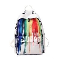 designer white graffiti backpacks youth girls boys school bags women painting black bagpack big capacity black students book bag