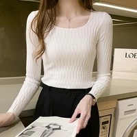 ljsxls autumn elasticity knitted sweater women 2020 fashion womens winter clothes slim long sleeve chic solid pullover sweaters