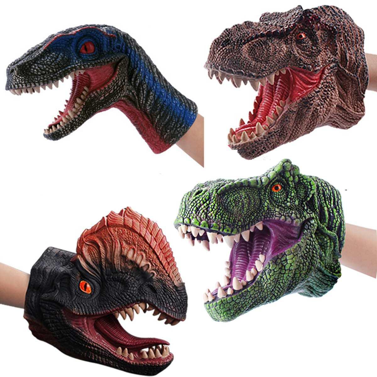 Мягкая виниловая Резина голова животного ручная кукольная фигурка игрушки перчатки для детей модель подарок динозавр ручные кукольные игрушки для детей
