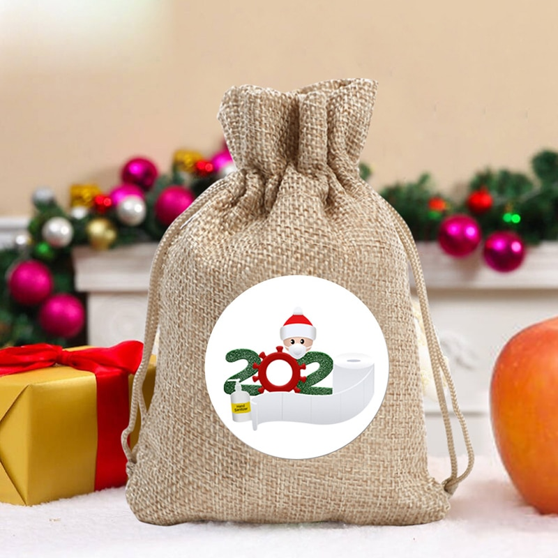 7 PCS Christmas Candy Bags Gift Pouch with Drawstring Decals Festive Holiday Themed Party Supplies M