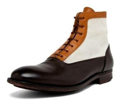 Inverno artesanal cores misturadas sapatos masculinos de salto baixo rendas-up sapatos de couro do plutônio novo estilo sapatos de salto baixo botas de moda tv932