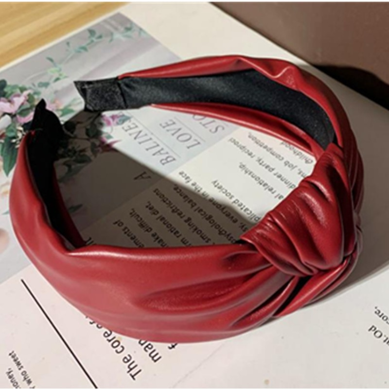 Wine red leather knot hairband sólido mulheres bandana coreano senhoras acessórios de cabelo cabeça banda adultos headband cabelo hoop