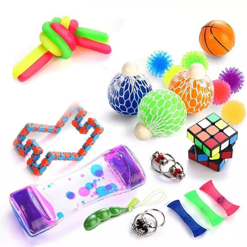 Sensory Fidget Toys Set Stress Relief and Anti-Anxiety Tools Bundle Stress Relief Hand Toys for Kids and Adults enlarge