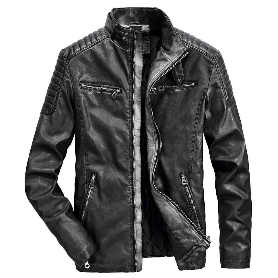 Men 2020 Autumn New Motor Casual Vintage Thick Leather Jacket Coat Men Winter Warm Fashion Outwear Zipper Leather Jacket Men