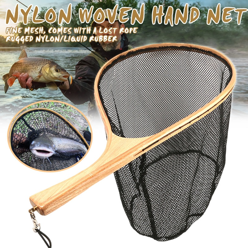 Pesca com mosca rede de pouso malha truta captura quadro de madeira lidar com acessórios portáteis sec88