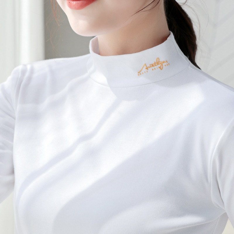 New T Shirt Women Tops Tees Long Sleeve T-shirt Cotton Solid Color Woman T-shirts Autumn Winter Turtleneck Basic Tshirts