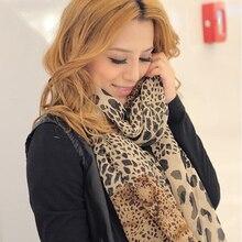 New Noble Fashion Women Long Soft Wrap Lady Shawl Silk Chiffon Scarves Leopard Print Shawl All-match