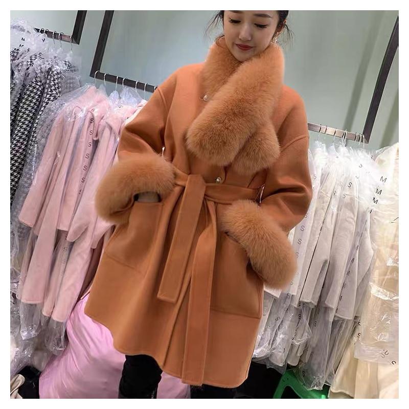 2021 موضة جديدة كبيرة الحجم فضفاض الكشمير الصوف يمزج معطف الفرو الحقيقي الشتاء سترة المرأة الطبيعية الثعلب الفراء طوق ملابس خارجية حزام