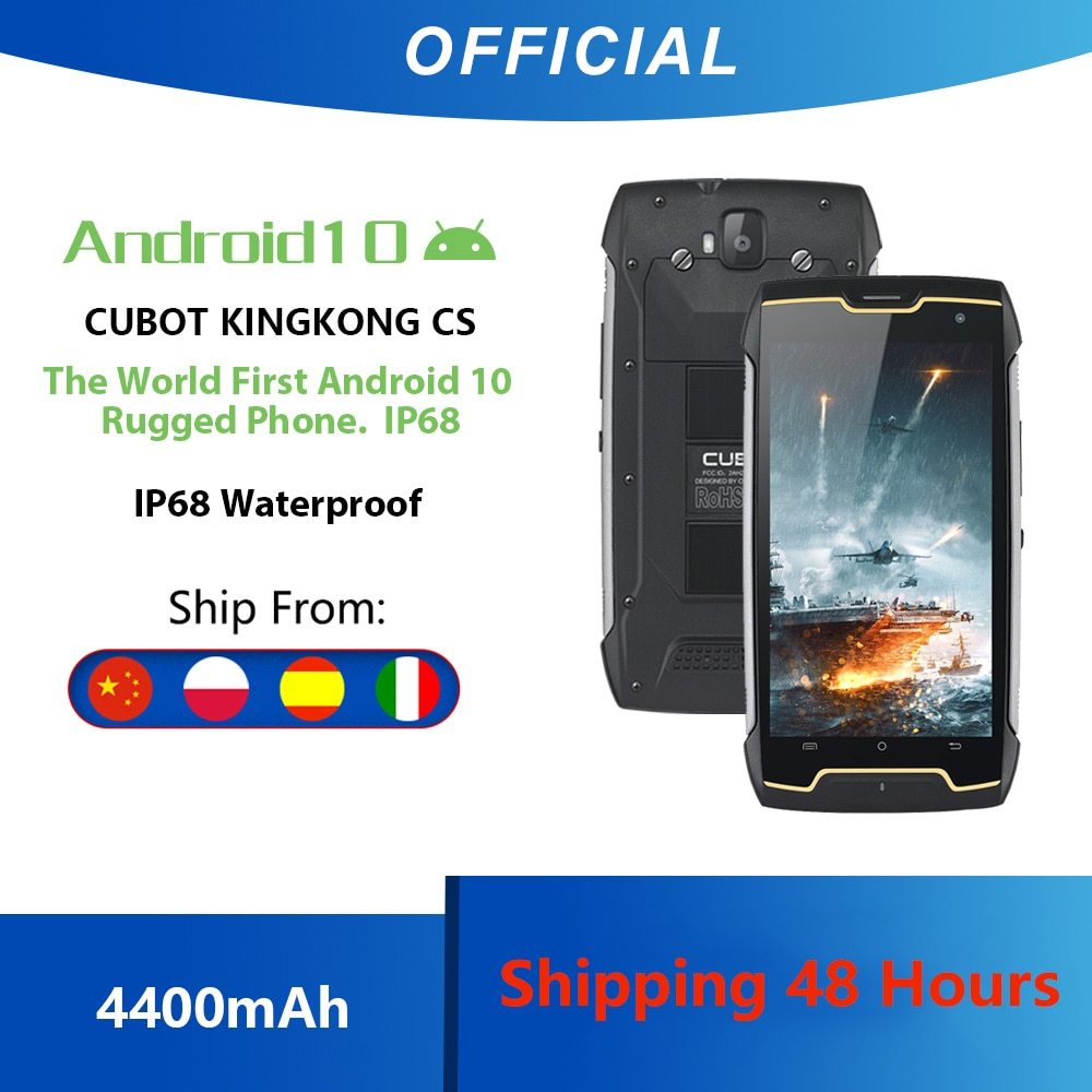 Перейти на Алиэкспресс и купить Cubot KingKong CS Google Android 10 система IP68 Водонепроницаемый телефон Смартфон 5 дюймов 4400мАч большая батарея Dual SIM Card Спортивный смартфон Защитный теле...