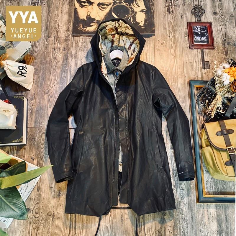 Mens Hoody Gothic Windbreaker Trench Coat Mid Long Cowhide Genuine Leather Jacket Male Casual Streetwear Bikers Leather Jackets