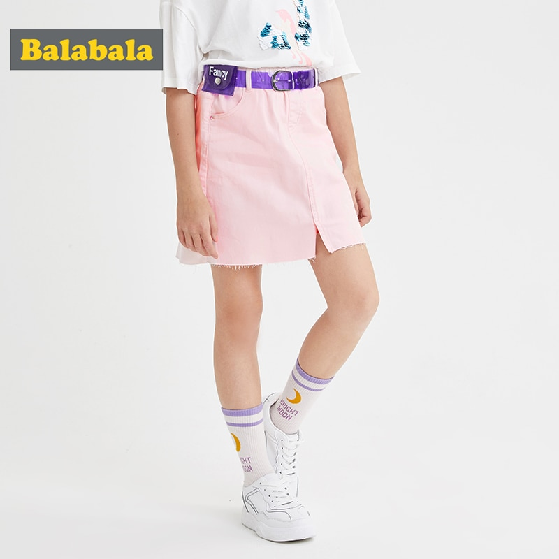 Balabala Mädchen kurzen rock 2020 sommer neue kinder wilden denim rock temperament trend mode spitze