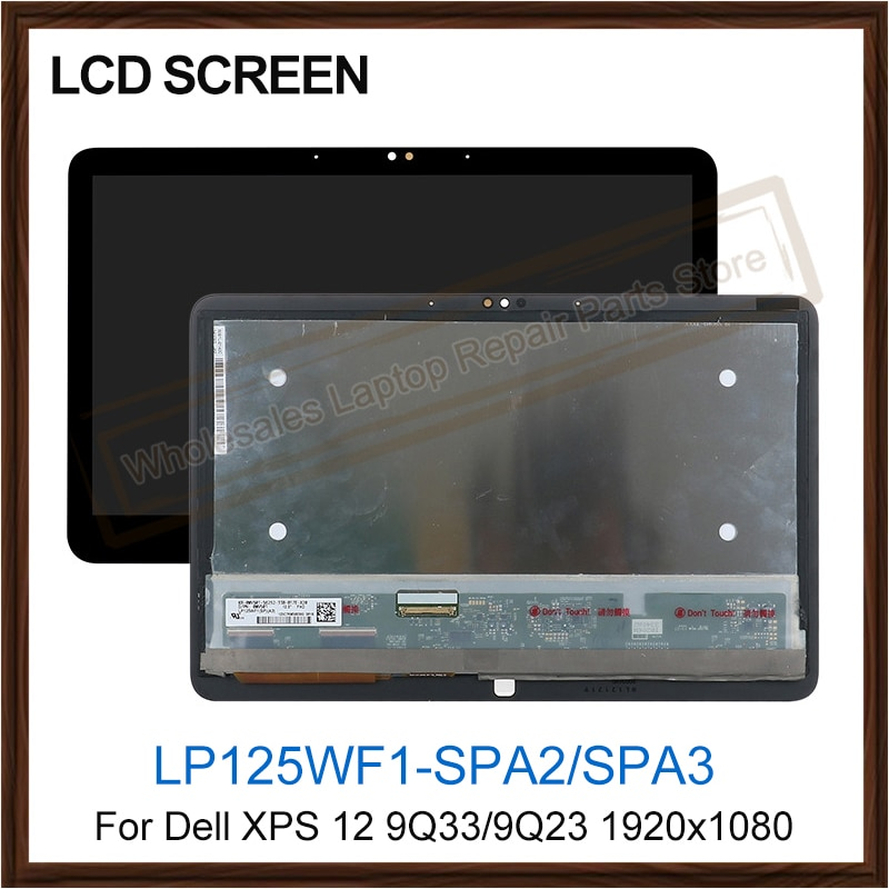 Laptop LCD Screen For Dell XPS 12 9Q33 lp125wf1-spa3 9Q23 LP125WF1-SP A2 touch digitizer LCD Display