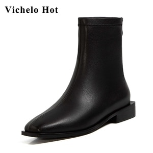 Vichelo Hot natural leather square toe med heel Chelsea boots concise style solid pretty girls dating charming ankle boots L71