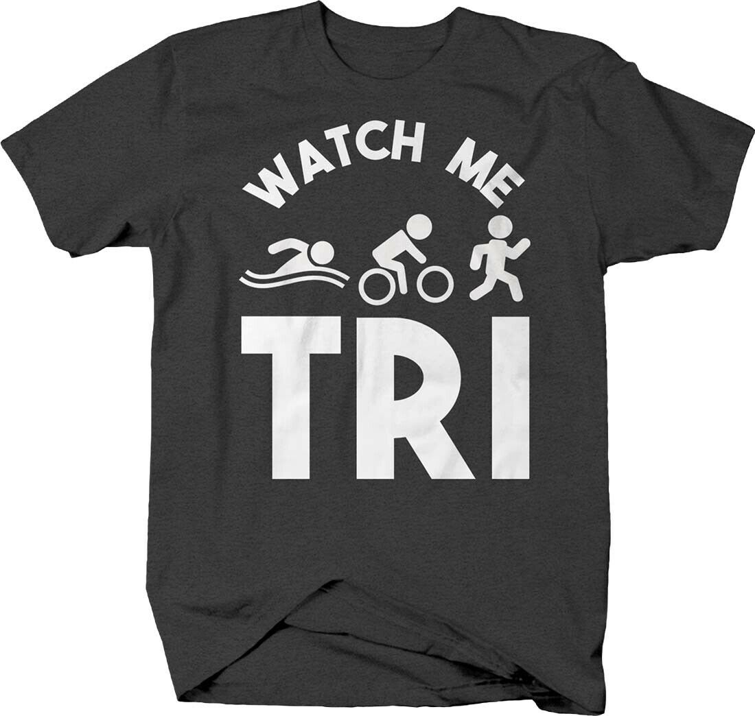 Assista me tri engraçado triathlon swim bike run endurance tshirt para homem