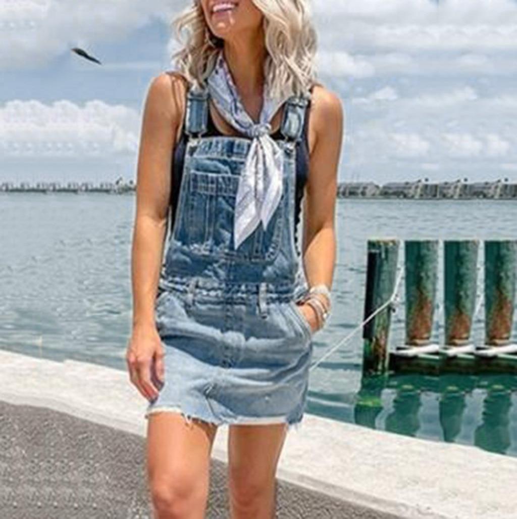 Women Denim Dress Slim Spaghetti Strap Summer Solid Casual Beach Shorts Bib Pants Strap Dress Girls Plus Size Dress Vestidos