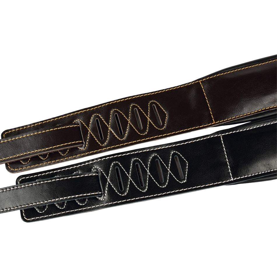 Soldier High Quality Genuine Leather Real Cowhide Guitar Strap for Electric Bass Guitar Adjustable Padded Belt Black Browm Color enlarge