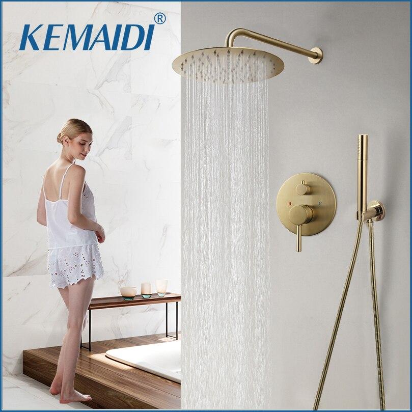 KEMAIDI-مجموعة صنبور دش 10 بوصة ، مثبتة على الحائط ، ذهبية مصقولة ، دش مطري ، مع صندوق مدمج ، خلاط ، مجموعات حوض الاستحمام