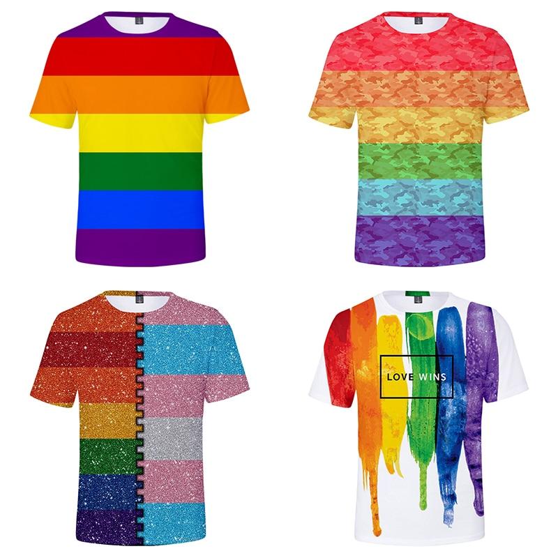 Gran oferta LGBT Arco Iris bandera lesbianas gay camisetas verano Casual hombres mujeres manga corta Camiseta 3D camisetas camiseta sudaderas