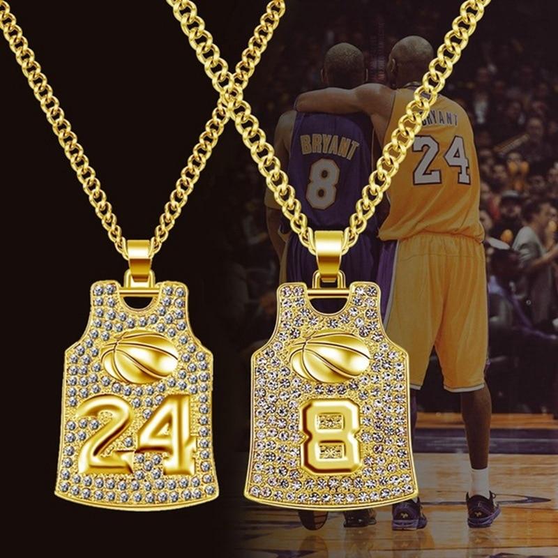COLLAR COLGANTE de camiseta de baloncesto para hombre, Colgante con cadena con diamantes de oro Hip Hop para el mejor novio