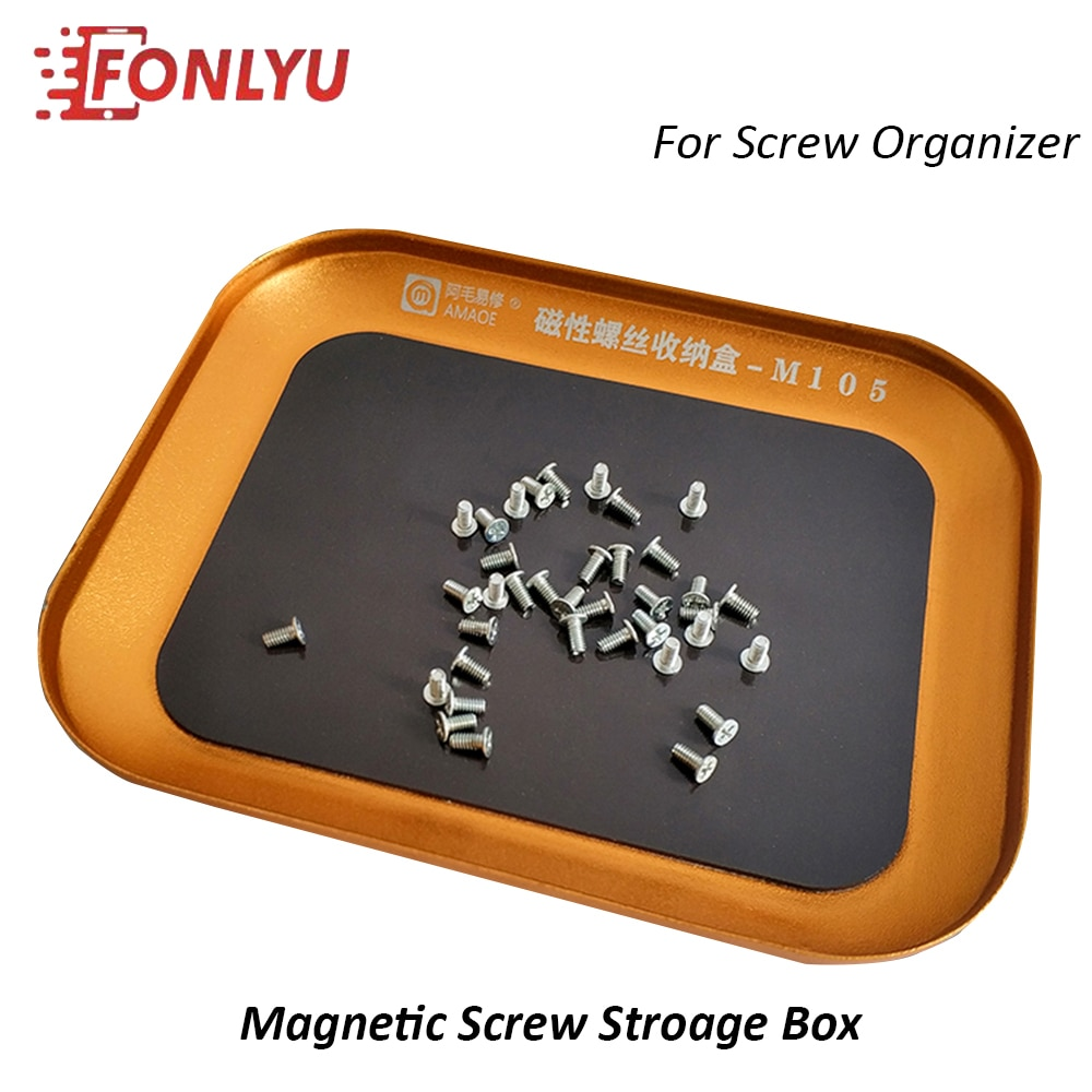 Amaoe Magnetic Screw Storage Box Aluminum Alloy Storage Tray Small Parts Organizers Storage Tray For Mobile Phone Repair Tool