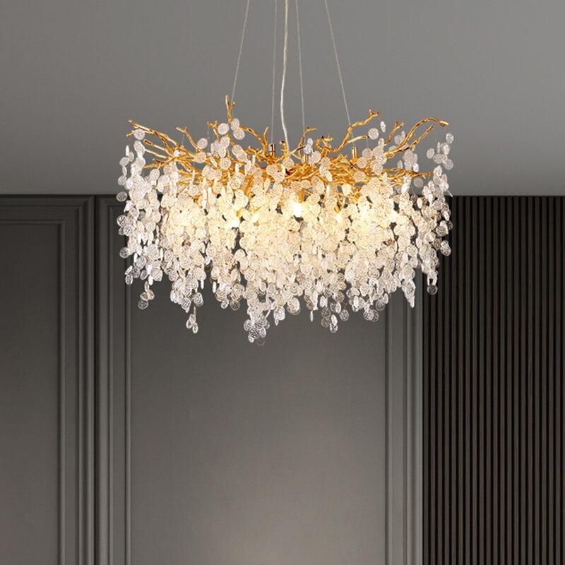 Nordic Luxury Crystal LED Chandelier Lighting Home Decoration LOFT Villa Lustre Living Room Hotel Hall Art Indoor Decor
