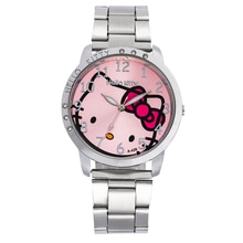 Kids Watches Girls Kitty Quartz Wristwatch Stainless Steel Watchband Cute Cat Clock Gift for Childre