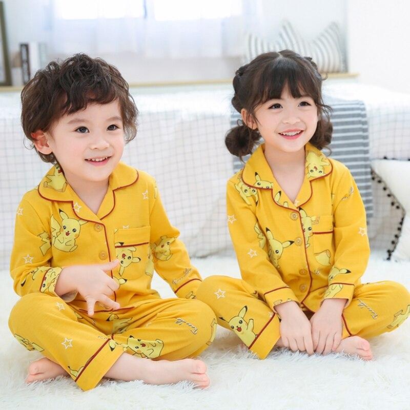 Baby Boys Girls Pikachu Pajamas Yellow Blue Cotton Summer Clothing Kids Pokemon Sleepwear Kawaii Shirt And Pants Pijamas Sets