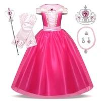 girls aurora dress kids christmas sleeping beauty costume children carnival birthday princess party clothes girl wedding dress