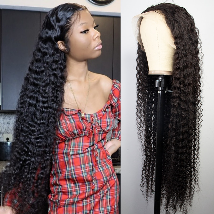 30 32 بوصة شعر بشري مجعد موجة عميقة أمامي الباروكات للنساء السود البرازيلي 13x4 HD الرطب ومموج موجة المياه الدانتيل شعر مستعار أمامي