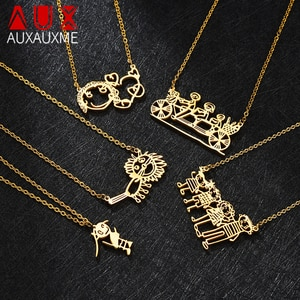 Auxauxme Customized Children's Drawing Necklace Stainless Steel Kid's Art Personalized Custom Name Necklaces Family Kid gifts