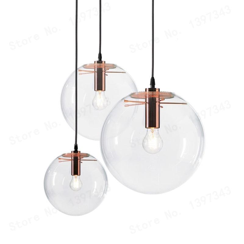 العجائب LED كرة زجاجية مصباح معلق الحديثة ارتفع الذهب تسليم بريق LED كرة زجاجية بار المطبخ جودة عالية