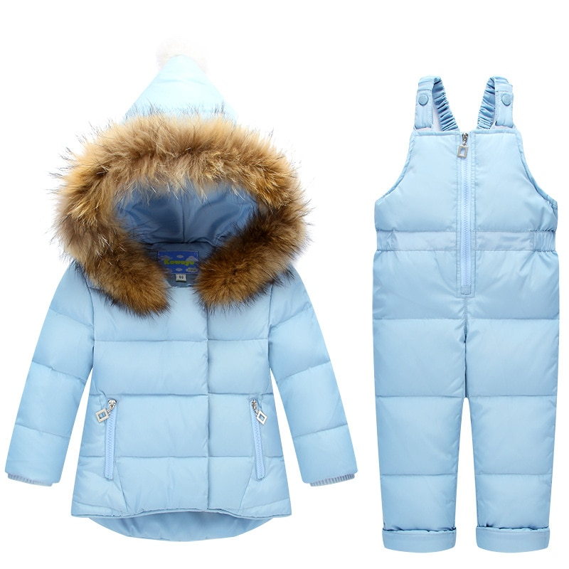 Russia Winter Children Clothing Sets Jumpsuit Snow Jackets+bib Pant 2pcs Set Baby Boy Girls Duck Down Coats Jacket With Fur Hood enlarge