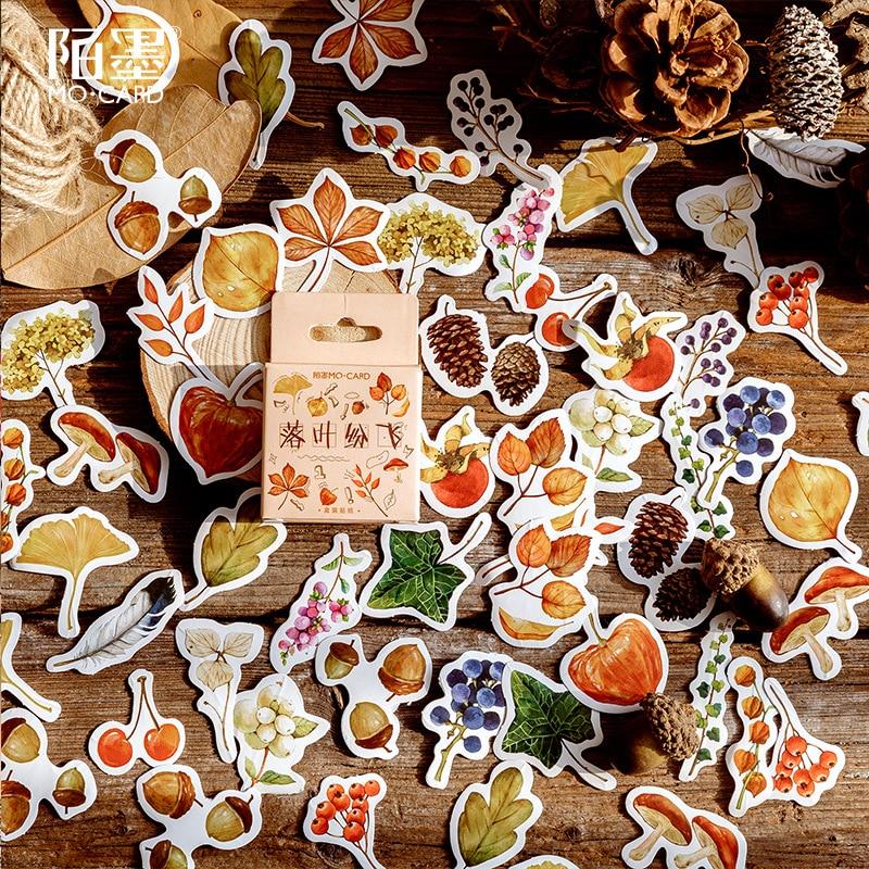 46 pçs adesivos embalados diário, folhas queda, série vintage, verde, planta, adesivo, flocos, scrapbooking, etiqueta, diário menina, adesivo