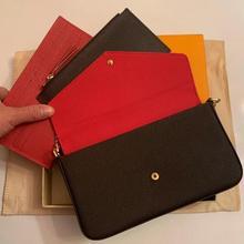 High Quality Luxury Design WomenThree-piece Chain Wallet Fashion P0CHETE FELlClE Messenger Bag Shoul