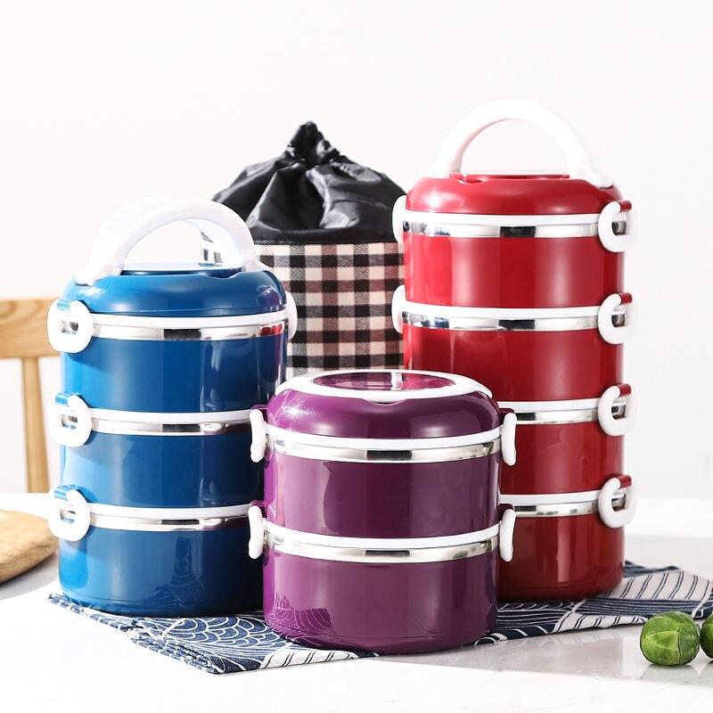 صندوق غداء عازل سميك للغاية ، برميل من الفولاذ المقاوم للصدأ ، غطاء غداء ، فرن ميكروويف ، تدفئة ، صندوق غداء للطلاب
