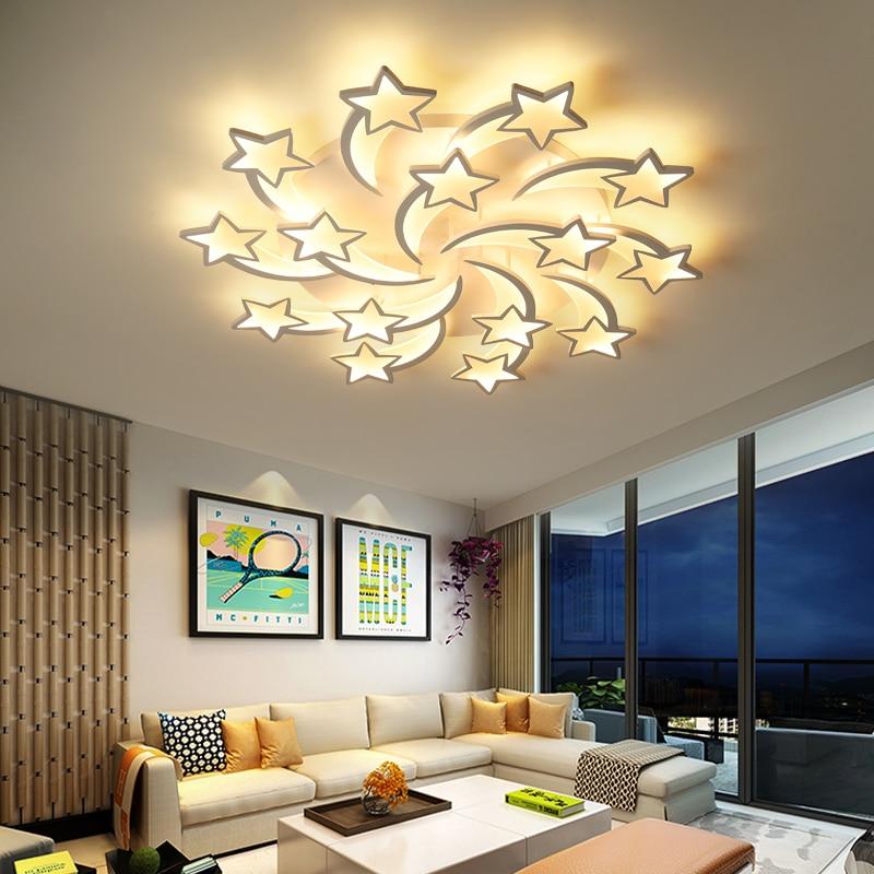 Lámpara colgante de LED IRALAN moderna para sala de estar/estudio diseño de dormitorio estrellas decoración lustres diseño hogar gran luminaria ICFW1913