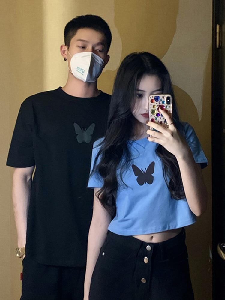 Lovers' Summer Tshirt  2021 New Short Sleeve T-shirt Female Butterfly Net Red Short Open Navel Top S