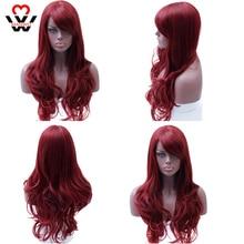 Perruque synthétique longue ondulée rouge MANWEI   Perruque de Cosplay rouge résistante à la chaleur avec raie latérale pour femmes noires