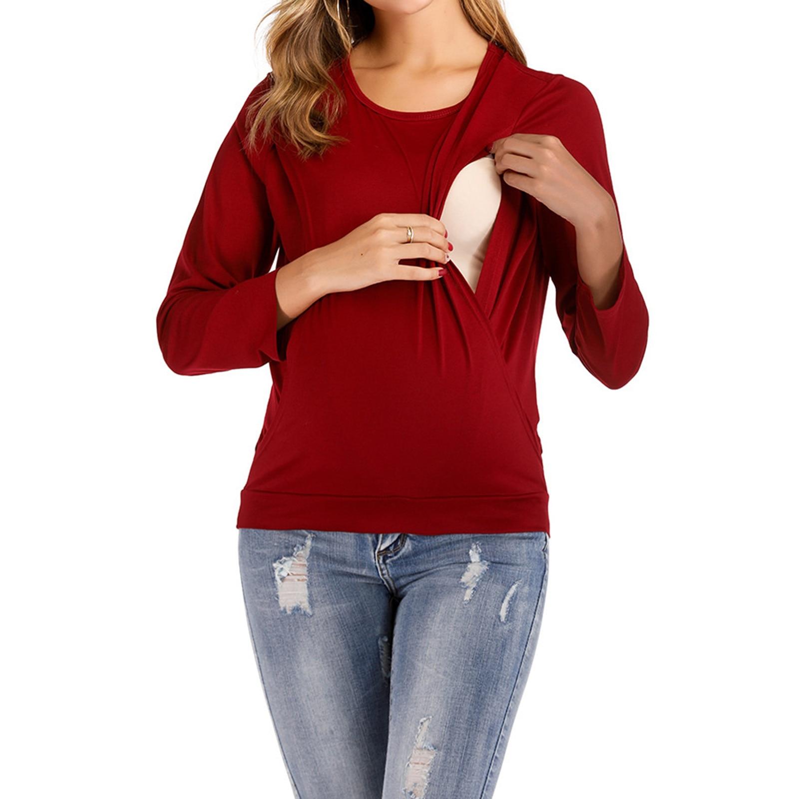 Maternity Wear Long Sleeve Spring And Autumn Fashion Round Neck Maternity Wear Long Sleeve Nursing Top Xl S-Xxxl Zwanger F4