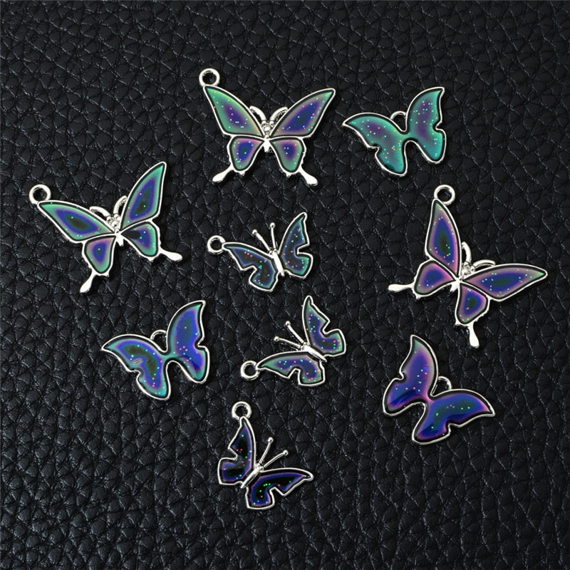 10 dijes de mariposa unids/lote, Control de temperatura, cambio de Color, colgante de aleación para hacer joyas, collar hecho a mano DIY