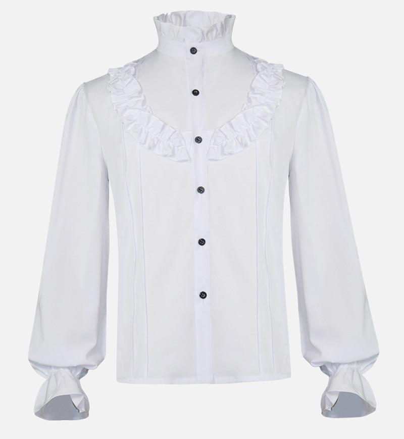 قميص رجالي بأكمام طويلة ، نمط قوطي ، عتيق ، عصر النهضة ، ياقة واقفة ، بلوزة ، ملابس النادي ، قمصان غير رسمية ذات ثنيات