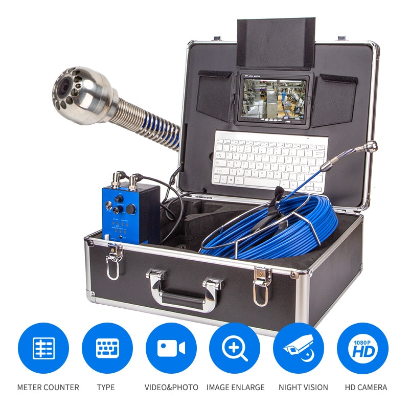 Pipe Inspection Camera, SYANSPAN 9 Inch Monitor Sewer Industrial Endoscope  Vedio + Redio + 8X Image Enlarg 20/50/100M