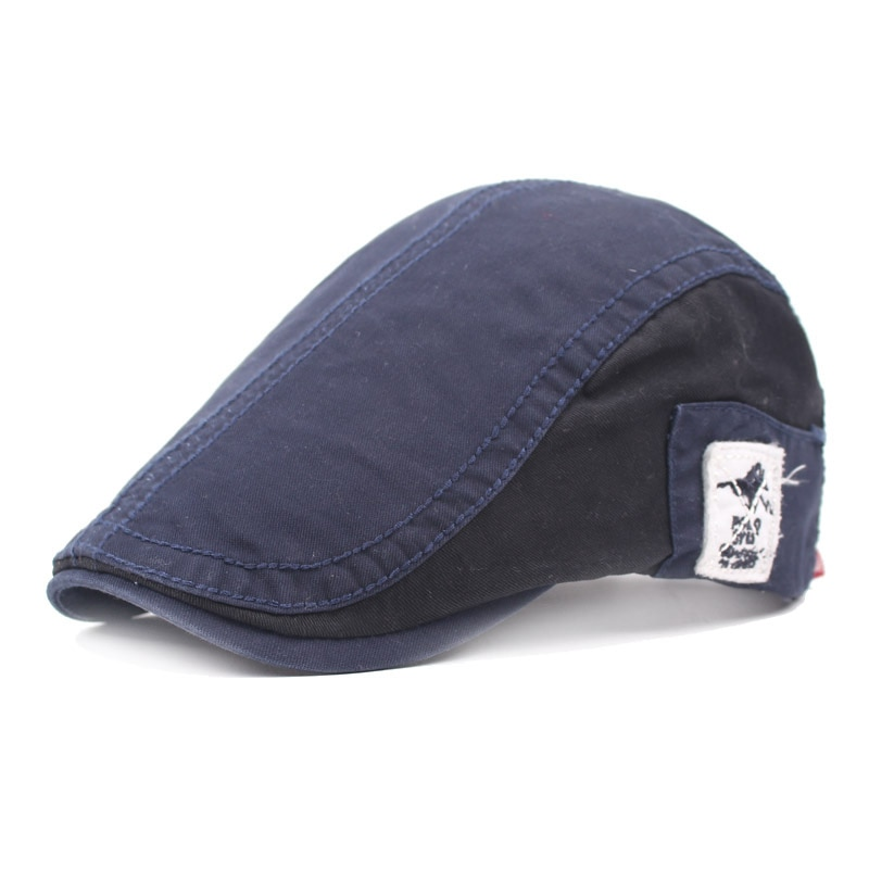 New Summer Cotton Berets Caps For Men Casual Peaked Spliced With Label Hats Casquette Cap Adjustable