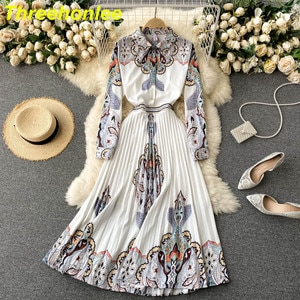 High Quality 2021 Europe Court Style Dress Pring 2021 New Shirt Dress Women's Printed Long Sleeve Shirt Dress Single Breasted